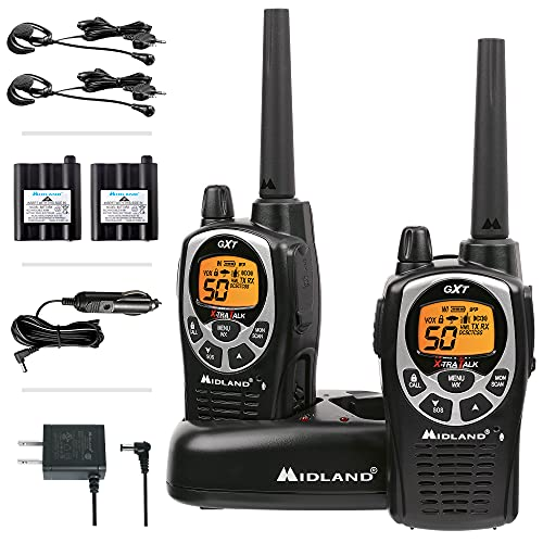 Midland 50 Channel Waterproof GMRS Two-Way Radio - Long Range Walkie Talkie with 142 Privacy Codes, SOS Siren, and NOAA Weather Alerts and Weather Scan (Black/Silver, Pair Pack)