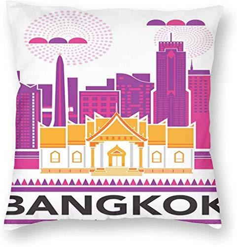 BONRI Bangkok Thailand Uitgelicht Stad Gebouw Poster Kussensloop Uniek Sierkussen Cover Creatieve Kussens Gevalhoezen met Rits Home Decoratieve Print Kussensloop voor Sofa Couch (18'x18 / 45x45cm