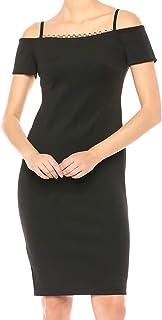 Calvin Klein womens Chain Detail Neck Cold Shoulder Sheath Dress CD8M18MF Dress
