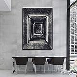 Blanco y negro edificio geometría corredor pared arte lienzo pintura carteles impresiones pared cuadros para sala de estar 30x40 cm