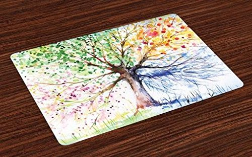 Ambesonne Tree Place Mats Set of 4, Watercolor Style Tree with Colorful Blooming Branches 4 Seasons Theme, Washable Fabric Placemats for Dining Table, Standard Size, White Green