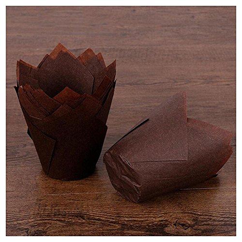 Rameng Lot de 50 Caissettes à Muffin Pliées en Forme de Tulipe en Papier Cupcake et Muffins Gâteau Moule (Café)