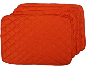 HC Cover Rectangle Dining Kitchen Table Quilted Rectangle Place-mat Premium Quality (6, Orange)