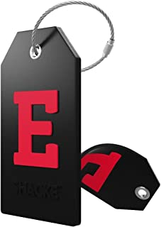 Initial Luggage Tag with Full Privacy Cover and Stainless Steel Loop (Black) (E)