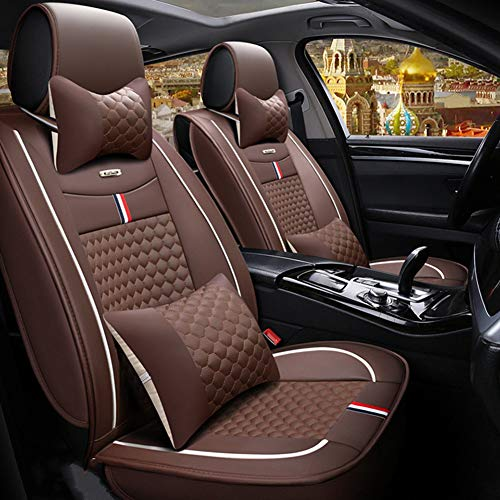 RR-YRC Luxury Leather Car Seat Cover Cushion, Comfortable Design, Relieve Fatigue, Suitable for Most Cars, Trucks, Suvs,Brown