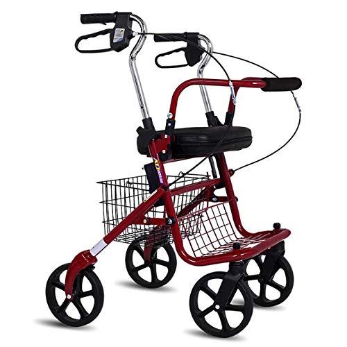 ZHHB Faltbar 4-Rad-Rollator, Höhenverstellbare Gehhilfe Für Ältere Menschen Mit Abschließbaren Kabelbremsen Und Korb Für Kofferraum, Reise Und Flug