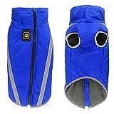 Aiboria wasserdichter Hundemantel Winterwarme Jacke mit Gurtloch Outdoor Sport wasserdichte Hundekleidung Outfit Weste für kleine mittelgroße Hunde (blau, 6XL)