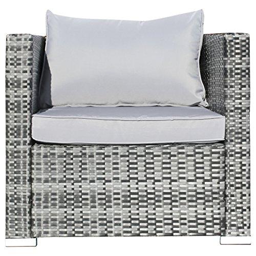 Hansson Polyrattan Gartenmöbel Lounge Set Sitzgruppe Garnitur Poly Rattan inkl. Sofa Sessel Kissen Hocker Tisch mit Glas (2 x Ecksofa, 1 x Mittelsofa, 1 x Tisch & Hocker)