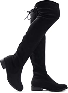 Women's Sexy Over The Knee Pull on Flat Boot Drawstring Stretchy Comfortable Block Heel