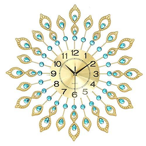 Anyi Sunburst Wall Clock, European-Style Creative Peacock Clock Modern Living Room Clock Watch New Bedroom Decoration Mute Clock 60Cm