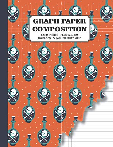 Graph Paper Composition: Cute Torn Cover Halloween Quad Ruled   Grid Paper for Math & Science Students   100 Pages   8.5x11 Inches   21,59x27,94 cm   ¼ Inch Squared Grid Graph Paper
