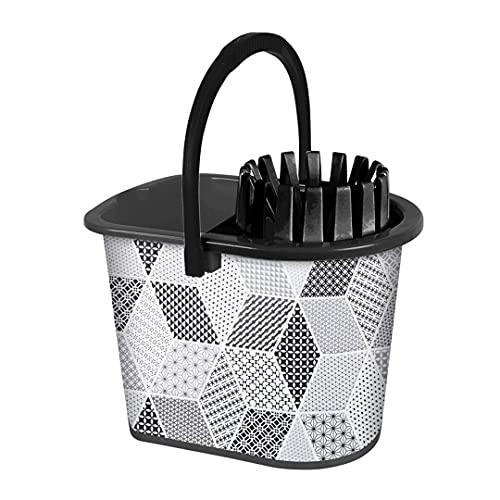 TIENDA EURASIA® Cubos de Fregar - Cubo de Fregona Sin Esfuerzo con Escurrefácil - Estampados Originales (Negro)