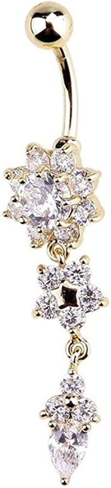 KeyZone Women's Popular Special Crystal Flower Dangle Navel Belly Button Ring Body Piercing Jewelry