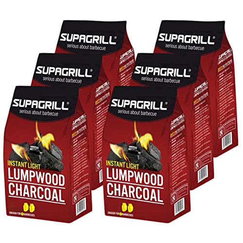 Supagrill 12 x 850g Bags Instant Light Lumpwood Charcoal BBQ Barbecue Grill Fuel