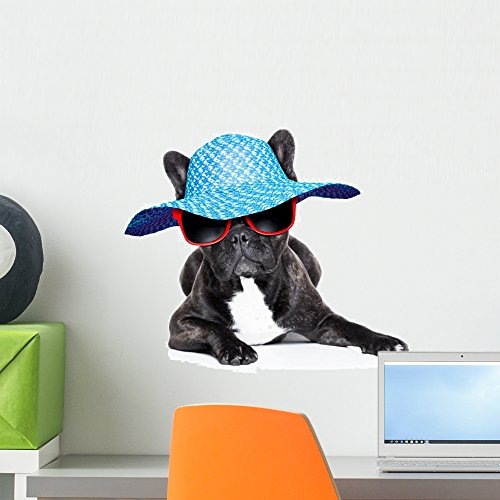 Wallmonkeys French Bulldog on Holidays Wall Decal Peel and Stick Graphic WM46428 (18 in W x 12 in H)