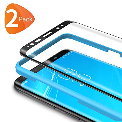 Bewahly Verre Trempé Samsung Galaxy S9 [2 pièces], 3D Incurvé Couverture Complète Film Protection en Verre trempé Écran Protecteur Vitre Dureté 9H [Kit d'installation Offert] pour Samsung S9 (Noir)