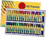 36 colores pasteles al óleo con sacapuntas y lápices de colores, lápices de colores hexagonales grandes para niños, adultos y artistas lápices, no tóxicos, miscibles, fuertes y duraderos