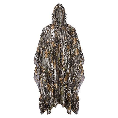 LOOGU Tarnanzug Ghillie Suit mit Kapuze Leicht und Tarnung Jacke und Hose 3D Design Woodland Camouflage Tarnkleidung Anzug Für Jagd Angeln Tierbeobachtung (Tree Camo, XL/XXL (1,85-1,95m
