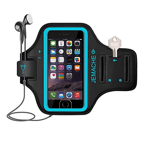 iPhone 6 7 8 SE(2020) Running Brazalete, JEMACHE Deportivo Correr Móvil Brazo Banda Funda para iPhone 6/6S/7/8/SE (2020) 4,7' - Dactilares Touch Apoyo (Azul)