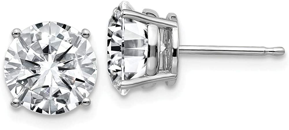 FB Jewels 14K White Gold 4.00ct. 8.0mm Round Moissanite 4-Prong Basket Post Earring