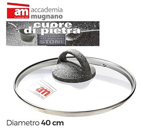 ACCADEMIA MUGNANO Coperchio in Vetro pentola/poéle–Diametro 40cm Cuore di Pietra–mws2116