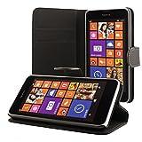 ECENCE Nokia Lumia 630/630 Dual SIM / 635 Coque de Protection Housse Pochette Wallet Case Noir + Film Protecteur ECRAN 41020301