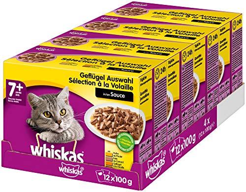 Whiskas 7 + Katzenfutter – Hochwertiges Nassfutter für gesundes Fell , Geflügel-Auswahl in Sauce, 4 x (12 x 100g)