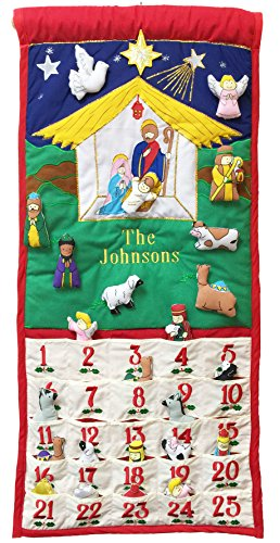 Pockets of Learning Personalized Traditional Nativity Advent Calendar, Holiday D