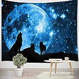 LB Lobo Negro Tapiz Cielo Estrellado Azul Tapiz Pared Luna Llena,Estrella,Universo Tapiz Colgar Pared para Sala Habitación Residencia Universitaria Decoración Pared,200cm Ancho x 150cm Altura