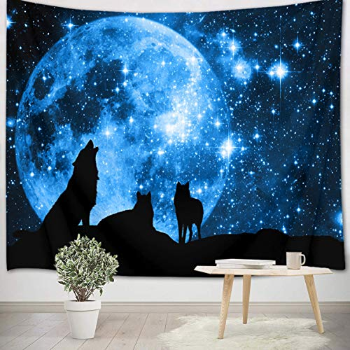 LB 92x70 inch Wolf Wall Tapestry Moon and Stars Wall Hanging Tapestry Wild...