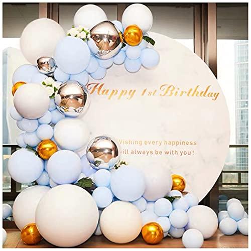 ZHMIAO Guirnalda de globos 4D, 149 piezas, decoración para fiesta de cumpleaños, guirnalda de globos, color blanco, azul y plateado, globo de metal para fiesta de bebé, decoración de cumpleaños