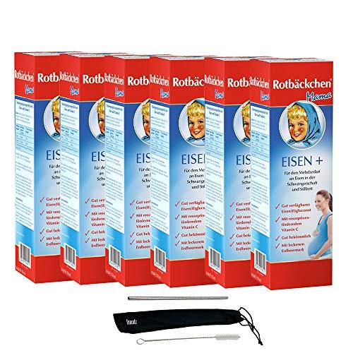 Rotbäckchen Mama Eisen + 6x 450ml Vegan Nahrungsergänzungsmittel mit Eisen und Vitamin C - mit leckerem Erdbeermark - gut bekömmlich PLUS fooodz-Trinkhalm Set mit Reinigungsbürste