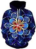 ZJIIXON Impresión de suéter 3D,Blue Mandala Flower Loose Hippie Pullover con Capucha Atlético Casual con Bolsillos Pareja Uniforme de béisbol para Estudiante Top Coat-As_Shown_XL