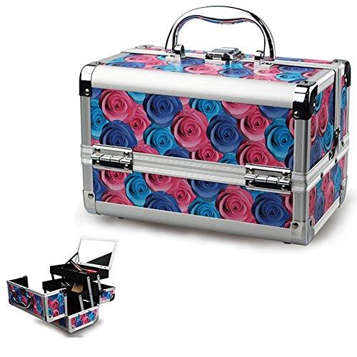 Valigetta Make Up Beauty Case Porta Trucco con 3 Scomparti e Specchio Struttura in Legno Telaio in Allumino Valigia da Viaggio Trucchi Truccatrice Estetista Nail art Decorazione Rose