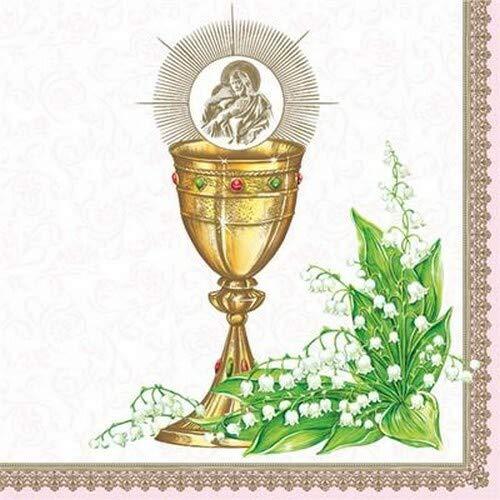 20 Servietten Kelch an Maiglöckchen rosa zur Kommunion, Konfirmation und Taufe für Mädchen 33x33cm