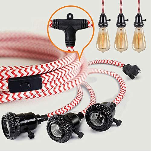 Lámpara colgante con interruptor, cable textil vintage con 8,5 metros de cuerda...