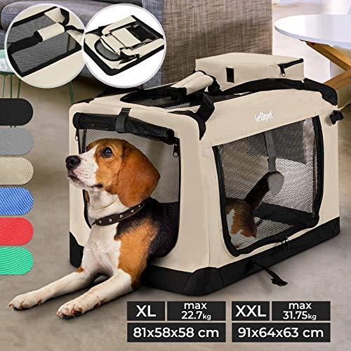 Hundebox - aus Stoff, S bis XXL, Faltbar, Tragbar, Abwaschbar, Größenwahl, Farbwahl - Hundetransportbox, Auto Transportbox, Katzenbox für Hunde, Katzen und Kleintiere (XL (22.7kg/81x58x58cm), Beige)