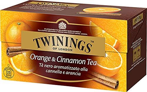 Twinings Tè Aromatizzati - Arancia & Cannella - Tè Nero Aromatizzato all'Arancia e Cannella - Carattere Brioso, Sapore Fresco e Speziato (50 Bustine)