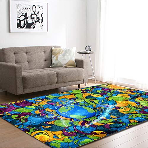 EU-VV Teppiche Super Weiche Moderne Noten, Blauer Globus Und Weltkarte Wohnzimmer Teppich Schlafzimmer Für Kinder Spielen Solide Home Decorator Bodenmatte (Stil 8,99x152cm)