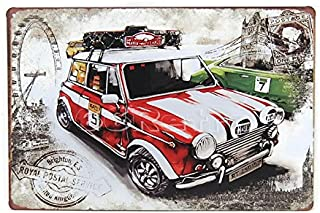 Vintage Red Mini Cooper, Vintage Tin Sign, Wall Decor By 66retro