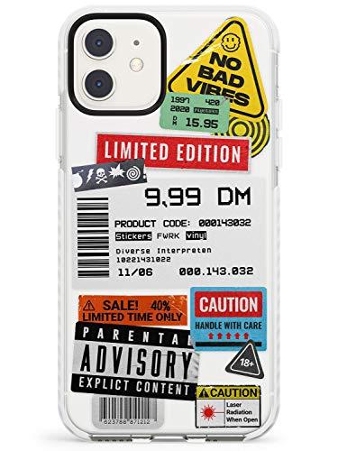 Case Warehouse Barcode-Aufkleber Mix Impact Handykette Hülle für iPhone 11 | Schutz Dual Layer Bumper TPU Silikon Hülle Muster Printed | 3D Transparent Grafik Strasse Städtisch