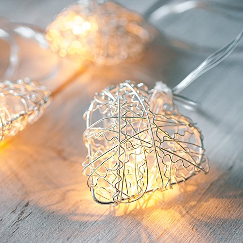 Lights4fun 10 Warm White LED Metal Mesh Heart Battery Fairy Lights