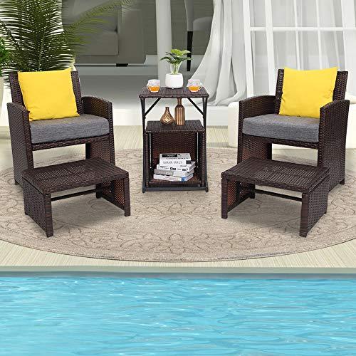VINGLI 6PCS Wicker Patio Conversation Set Outdoor Furniture Wicker Chair, Patio Furniture Set with Ottoman & Storage Side Table for Lawn Pool Balcony Backyard, Space Saving Design