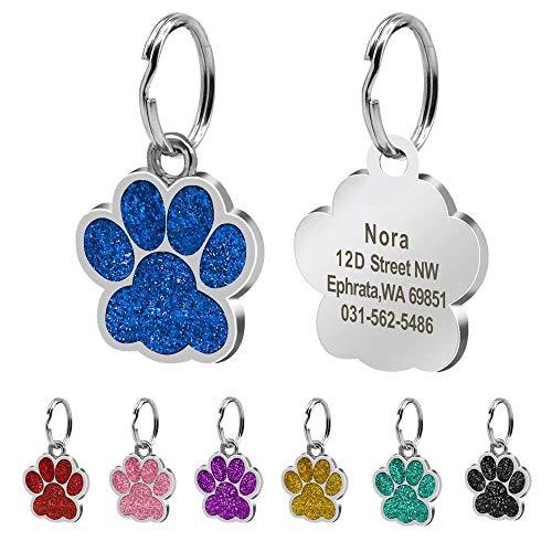 Beirui Placas de identificación Huellas Personalizadas en Acero Inoxidable de 24 mm para Perros y Gatos, con Grabado láser, Azul, S (0.9