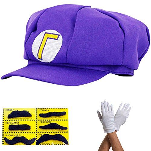 Super Mario Gorra Waluigi - Disfraz para Adultos y niños en 4 Colores Diferentes + Guantes y 6X Barba pegajosa Carnaval y Cosplay