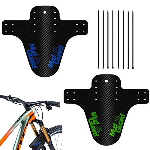 Front Rear Splash Guard Bike Mtb Mudguard Downhill Bike Mudguard 2 Pcs Bike Compatible Guard Fat Tire Fenders Bike Wheel Fender With 8 Cable Ties For Cycling Racing Mountain Road Bikes Green Blue