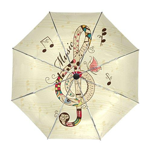 MyDaily Regenschirm mit Notenschlüssel, automatischer Öffnung, UV-Schutz, Winddicht, leicht