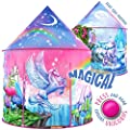 W&O Rainbow Unicorn Kids Tent with Magical Unicorn Sounds, Princess Tent for girls, Pop Up Tent for Kids, Unicorn Toys for Girls, Kids Play Tent, Play Tents for Girls, Outdoor & Indoor Tent Play House