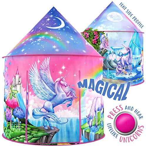 W&O Rainbow Unicorn Kids Tent with Magical Unicorn Sounds, Princess Tent for girls, Pop Up Tent for...
