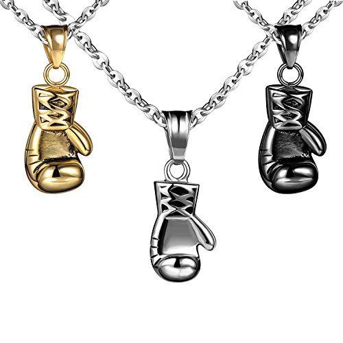 Feilok Fashion Edelstahl Anhänger Retro Punk Stil Sport Boxhandschuh Anhänger Fausthandschuh Boxen Ketten Halskette für Herren, 3er Pack
